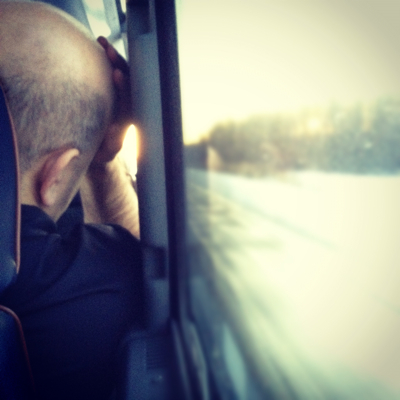 man in a bus sleeping